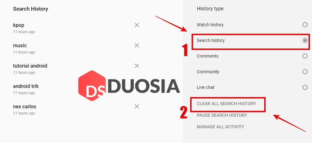 hapus riwayat pencarian youtube pc