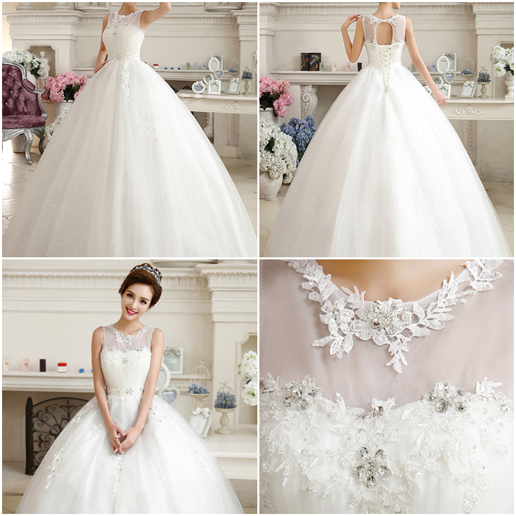 Superior Jewel Neck Pleats Applique Beading Lace-up Sleeveless Ball Gown Floor Length