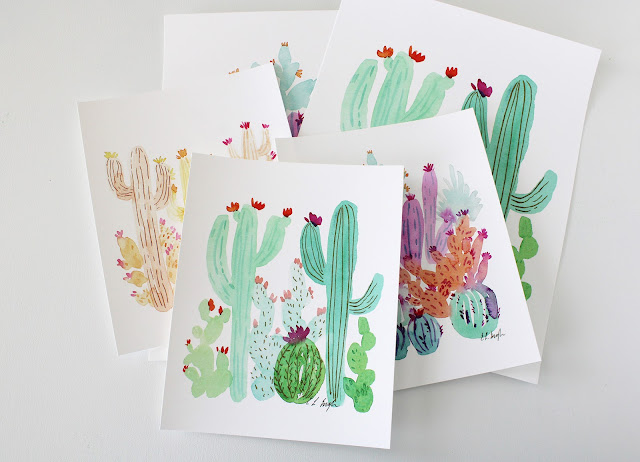Watercolor Cactus Prints, Cactus Wall Art