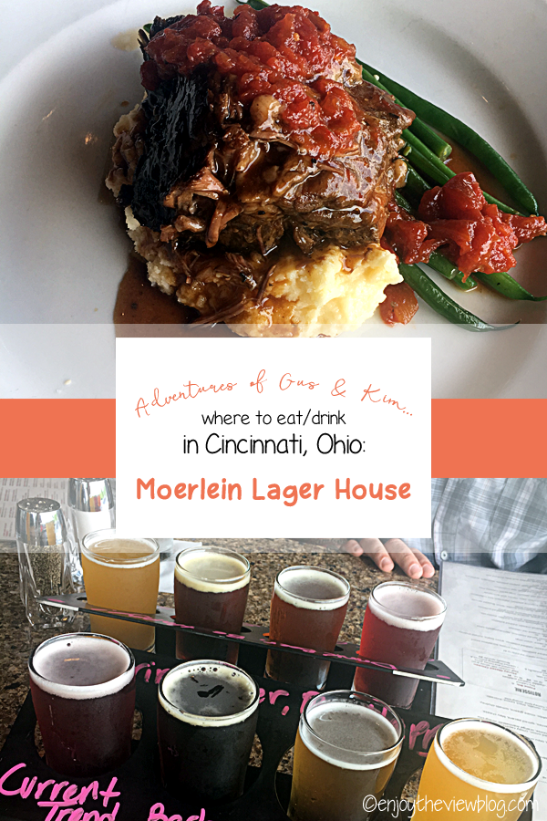 "infographic showing a plate of shorts ribs and a flight of beer with the words ""Adventures of Gus & Kim - where to eat/drink in Cincinnati, Ohio: Moerlein Lager House"""