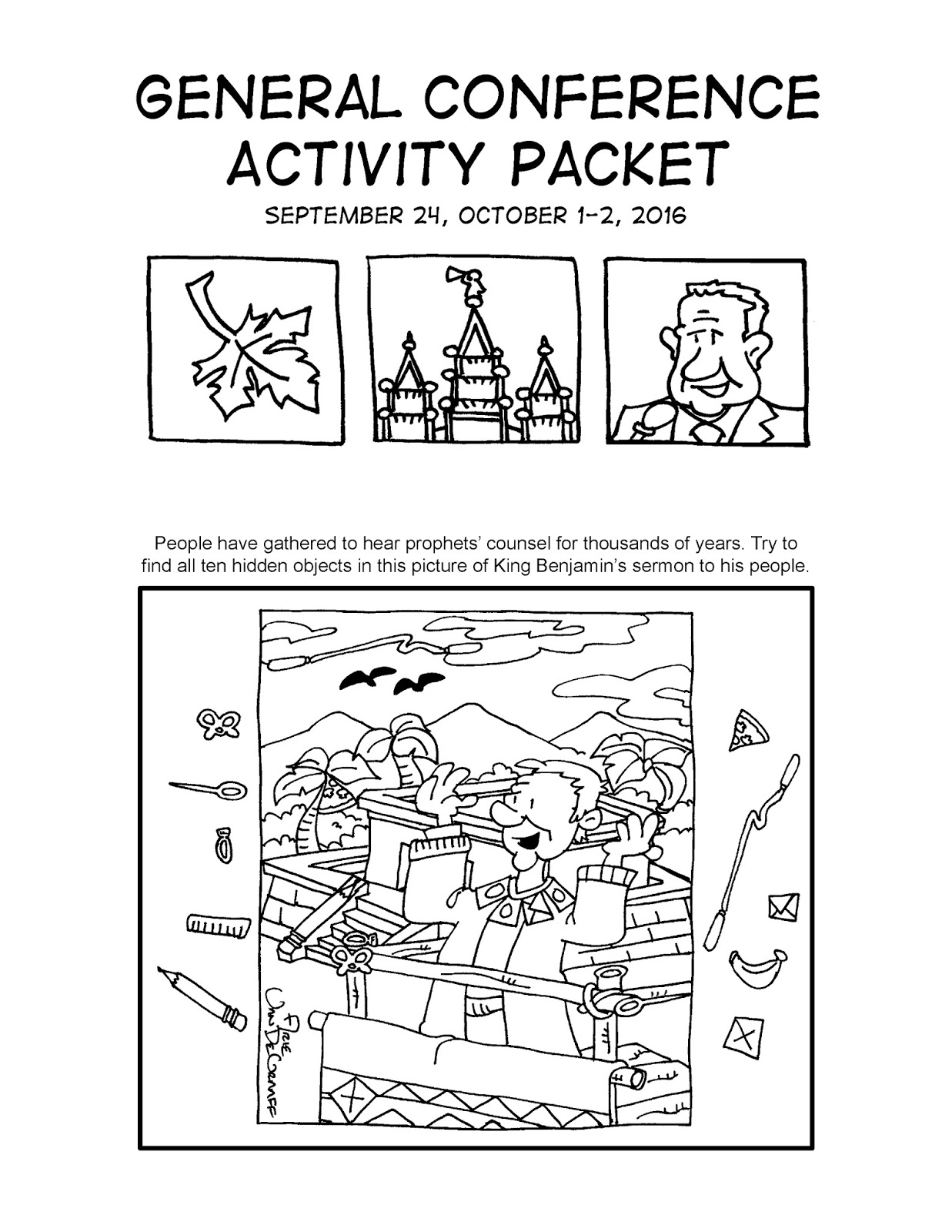 Mormon Cartoonist Your October 2016 General Conference Activity Packet