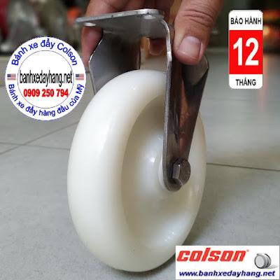 Bánh xe Nylon 6 càng inox 304 cố định phi 125 Colson | 2-5408-254 www.banhxepu.net