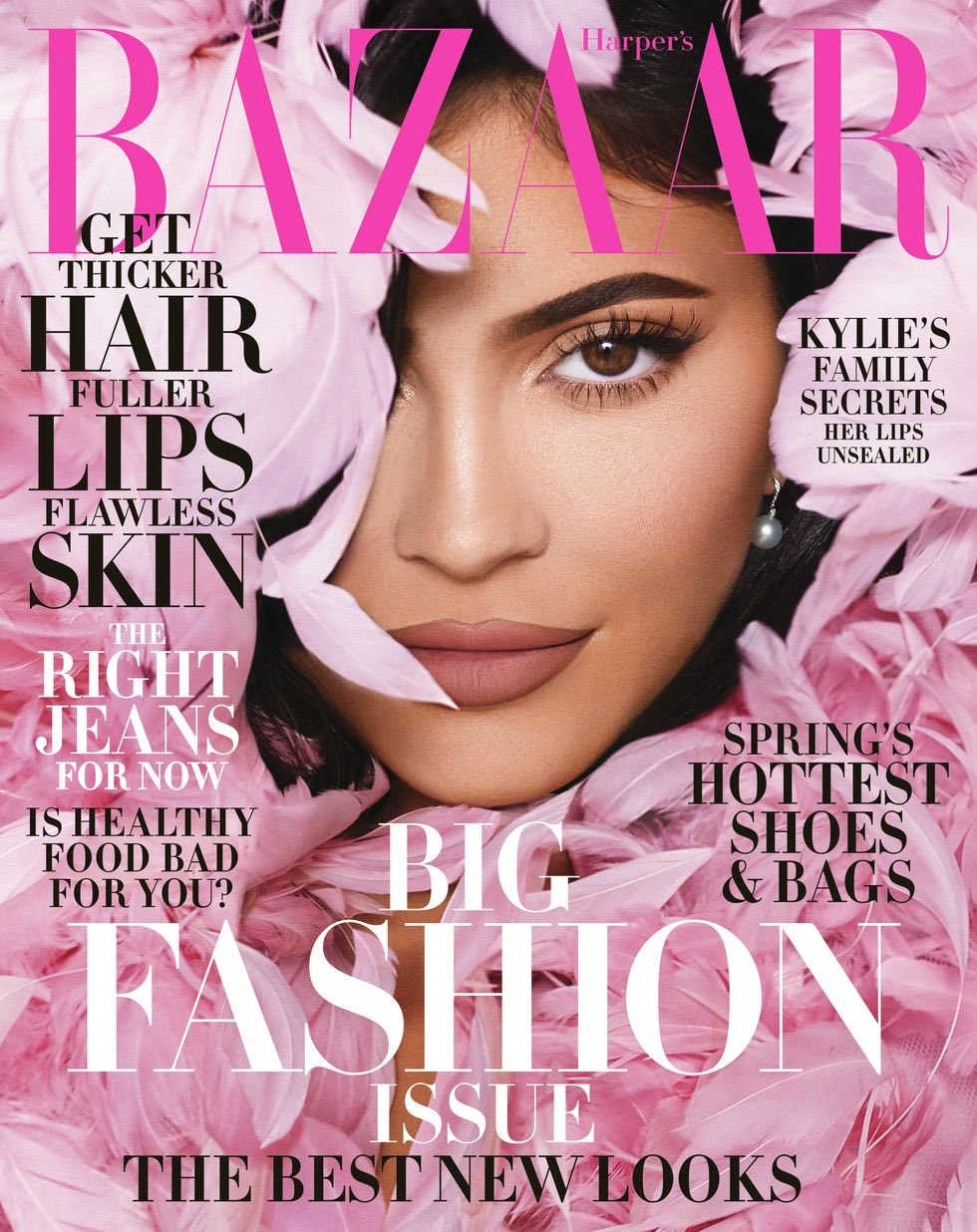 Kylie Jenner covers Harper's Bazaar US March 2020 in a Valentino Haute Couture cape and Tiffany & Co. earrings