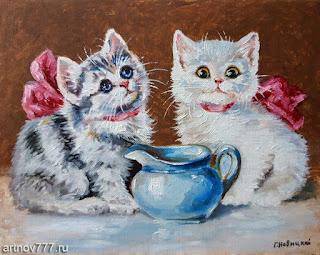 Котята=и-молоко-картина