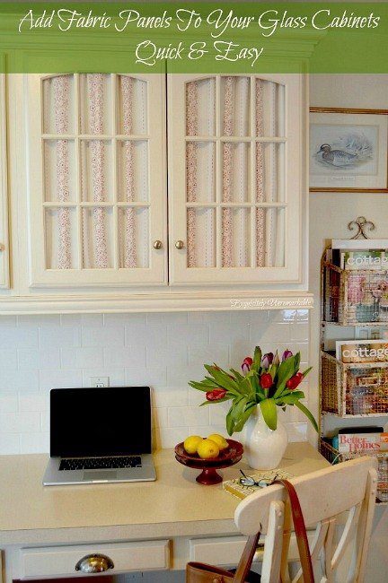 How To Add Fabric To Glass Cabinet Doors text over fabric covered cabinets