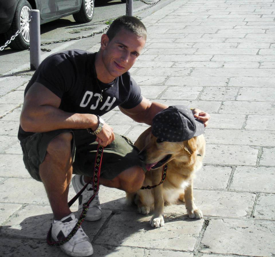 street-male-hunk-biceps-walking-dog-pet