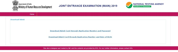 How to download JEE Main Admit Card 2019, Admit card JEE mains 2019, Download JEE(Amin) 2019 Admit Card