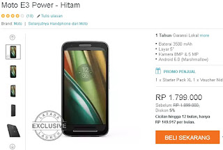 Harga dan Spesifikasi Motorola Moto E3 Power