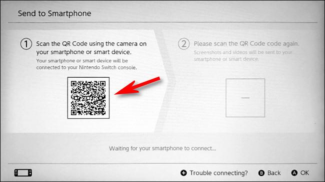 باستخدام جهازك الذكي ، امسح رمز QR الأول على Switch.
