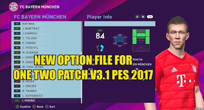 PES 2017 Option File for One Two Patch V3.1 Update 15 August 2019
