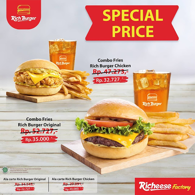 Promo Special Price Combo Fries Rich Burger Original & Combo Fries Rich Burger Chicken
