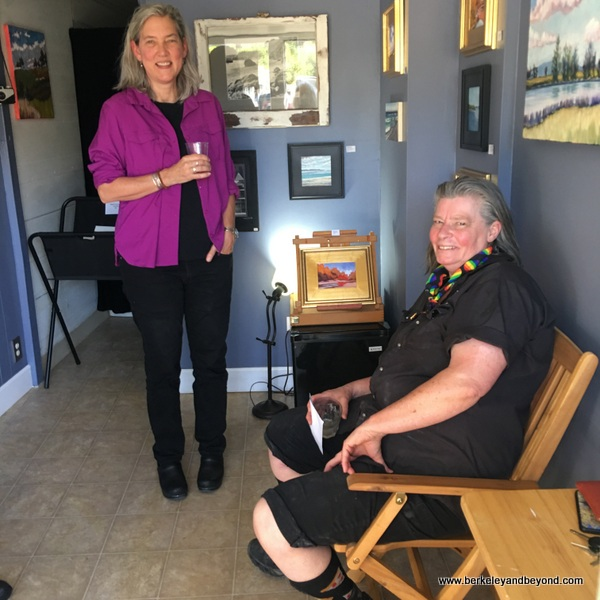 artists Katharine Norris and Suzy Kuhr in Kuhr-Norris Art Gallery in Guerneville, California