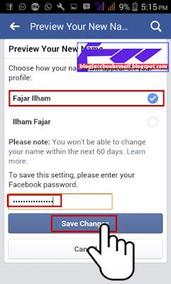 tips mengganti nama facebook sepuasnya sesuka hati lewat HP android