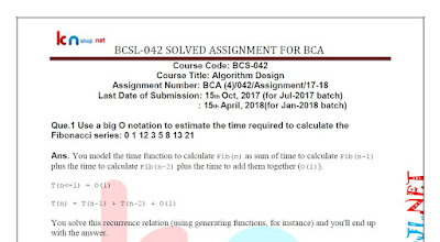 IGNOU BCA BCS-042 Solved Assignment 2017-18