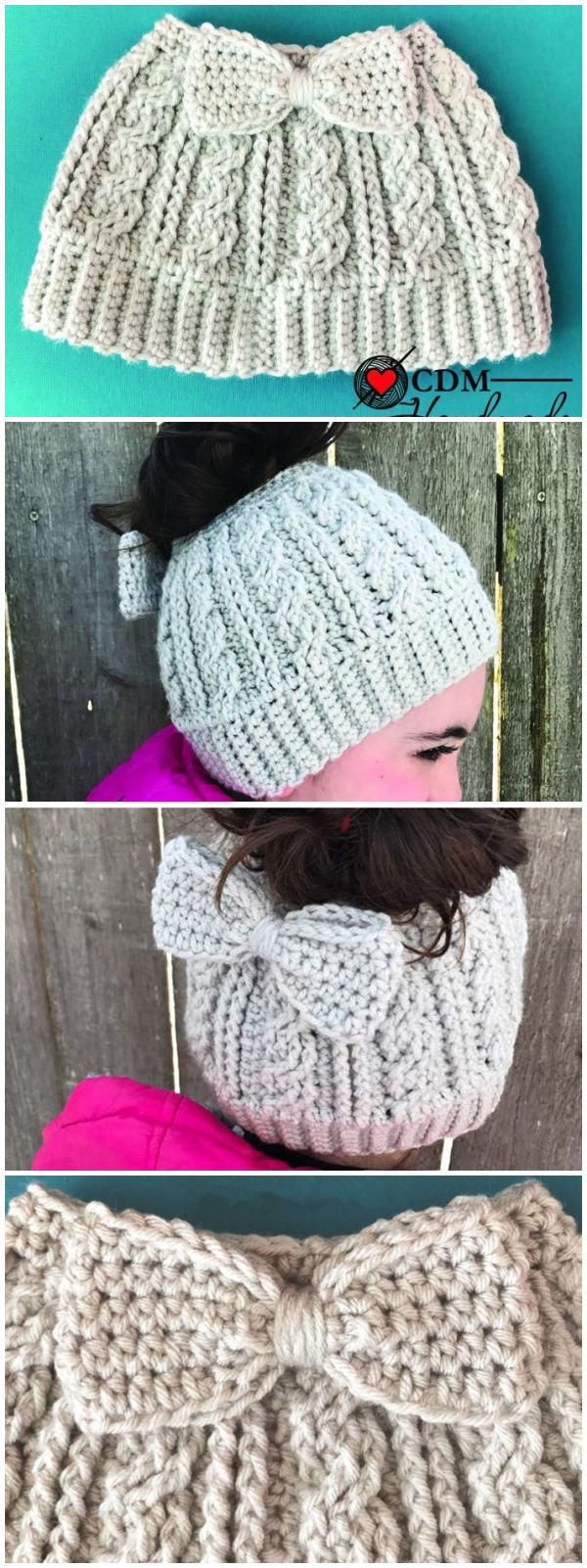 Cabled Messy Bun Bow Hat – a FREE Crochet Pattern