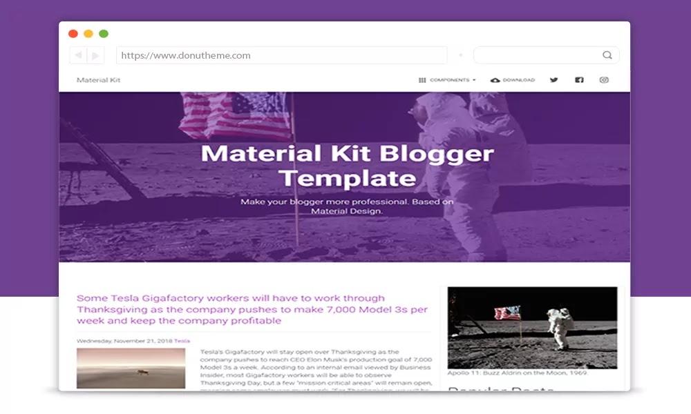 Material Kit Responsive Blogger Template