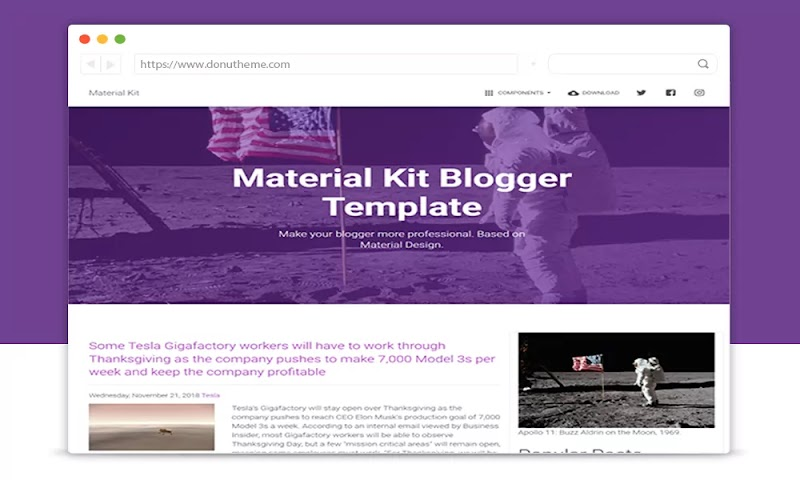 Material Kit Responsive Blogger Template - Responsive Blogger Template