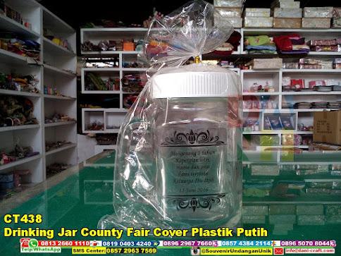 jual Drinking Jar County Fair Cover Plastik Putih