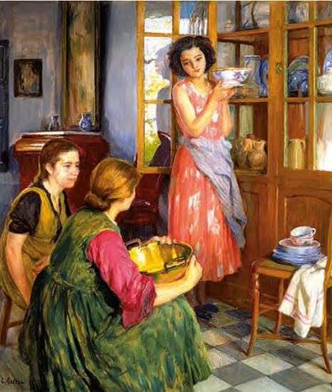 Muchachas en el hogar,  Laureano Barrau Buñol, Pintor Catalán, Pintor español, Cuadros de Laureano Barrau Buñol, Barrau Buñol, Laureano Barrau
