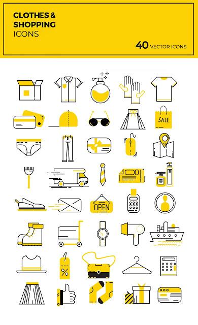 40 ايقونة مجانية حديثة بعدة صيغات AI ، EPS ، PSD و PNG تستخدم في التسويق الالكتروني