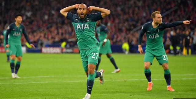 VIDEO: Ajax 2 vs 3 Tottenham; Lucas Moura's hat-trick powers Spurs to Champions League final