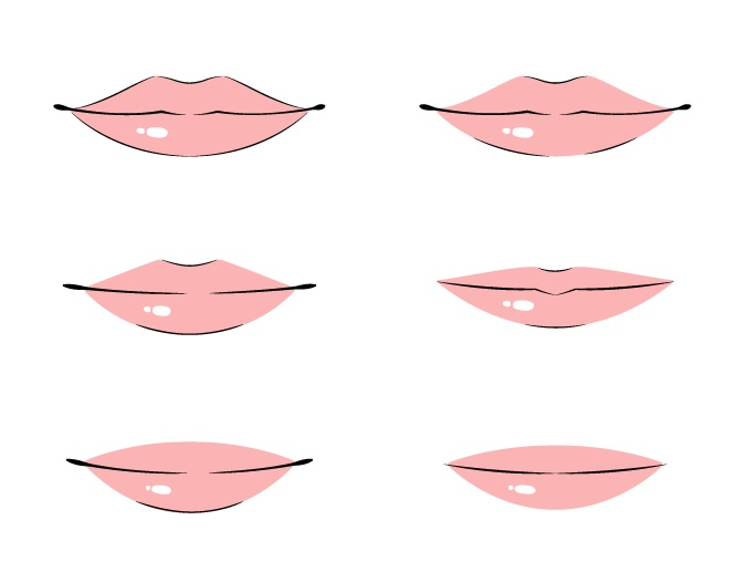 Coloring anime lips front view example