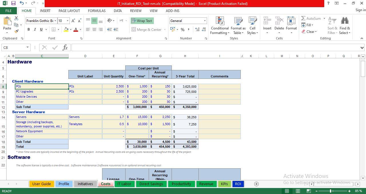 Implementation Costs worksheet