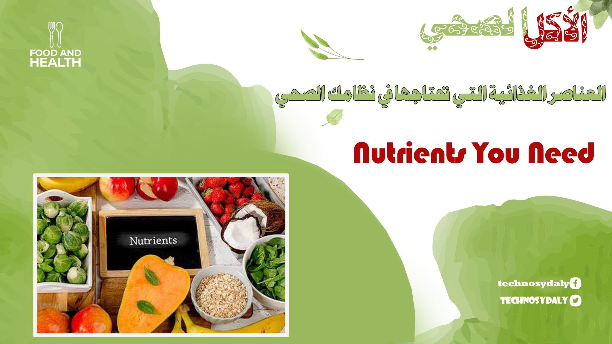 العناصر الغذائية التي تحتاجها في نظامك الصحي Nutrients You Need