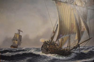 Sloop Providence, John Paul Jones, Pursued by HM Frigate Solebay and Firing a Swivel Cannon