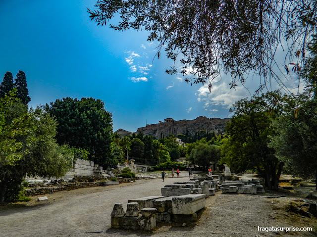 A Acrópole vista da Ágora Antiga de Atenas