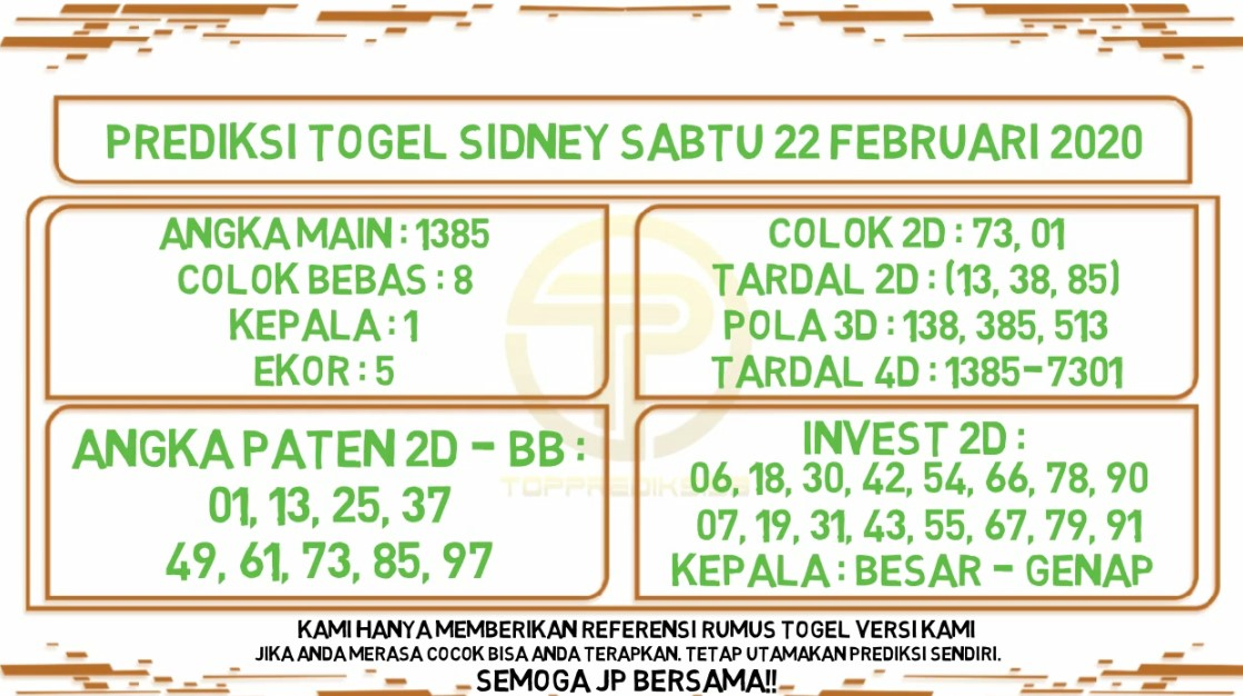 Prediksi Togel JP Sidney 22 Februari 2020 - Prediksi Togel JP
