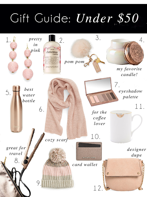 gift guide under 50 for her baublebar earrings swell water bottle nordstrom scarf mark and graham monogram pom pom keychain naked basics eyeshadow palette shop bop coffee mug capri blue volcano candle anthropology travel straightener pom pom hat