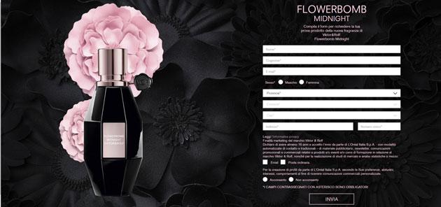 clicca qui per richiedere un campione del profumo Flowerbomb Midnight