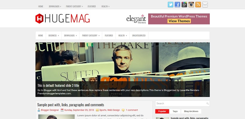 HugeMag Free Blogger Template