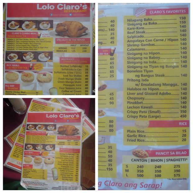 The menu of Lolo Claro's Restaurant