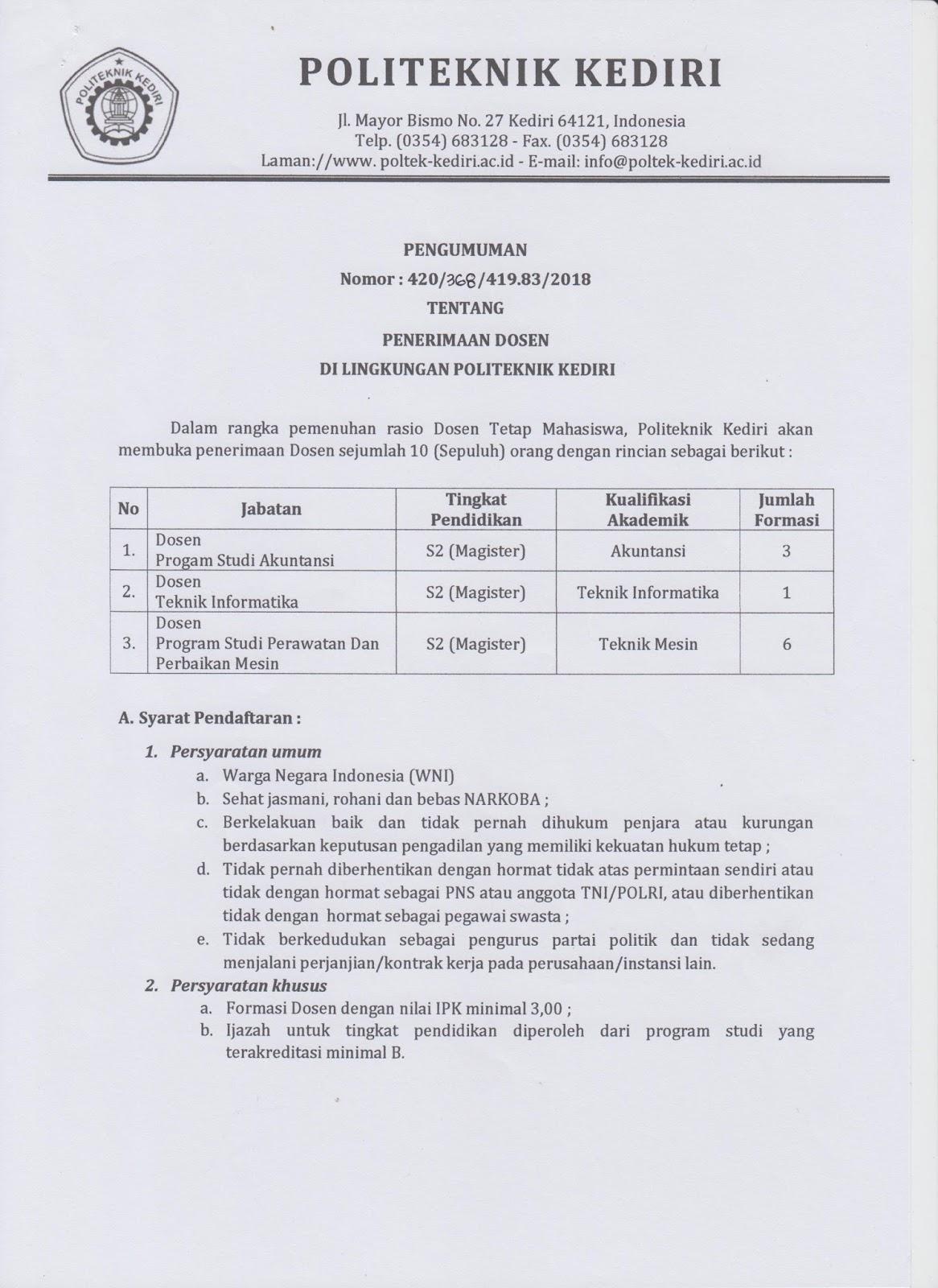 lowongan Dosen Akuntansi & Teknik Informatika Politeknik Kediri