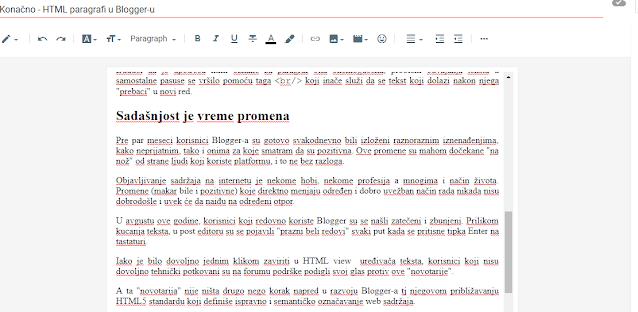 """Primer """"praznine između redova"""" u Blogger-ovom editoru"""