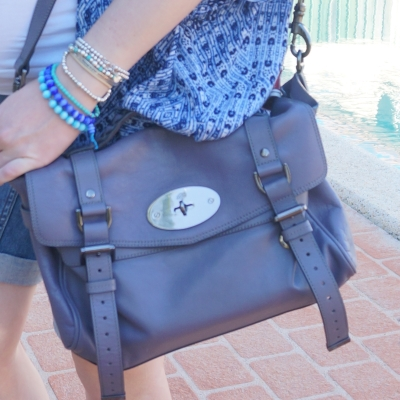 AwayFromTheBlue | Mulberry regular foggy grey Alexa lilac bag with blue outfit