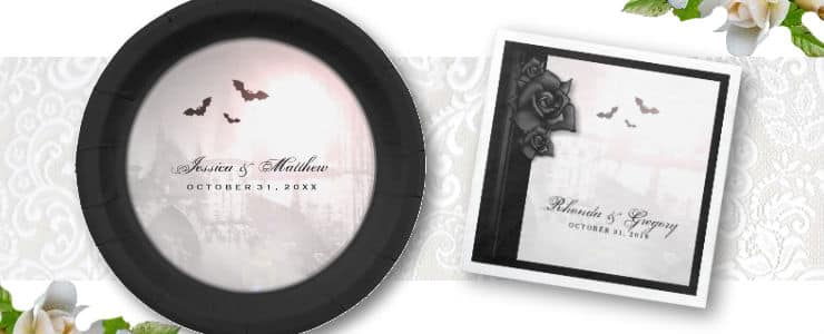 Halloween gothic wedding invitation extras - custom paper plates & napkins