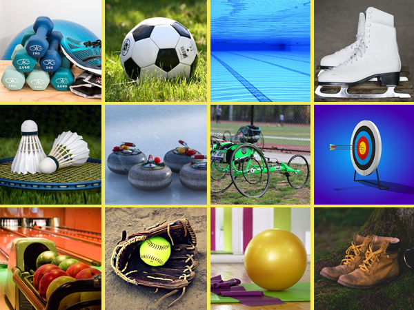 collage of images showing different sporting equipment, including hand weights, a soccer ball, a swimming pool with lanes marked for laps, ice skates, a badminton racket with birdies, curling stones, a wheelchair racer, an archery target, a bowling ball return, a softball in a glove, yoga gear, and hiking boots