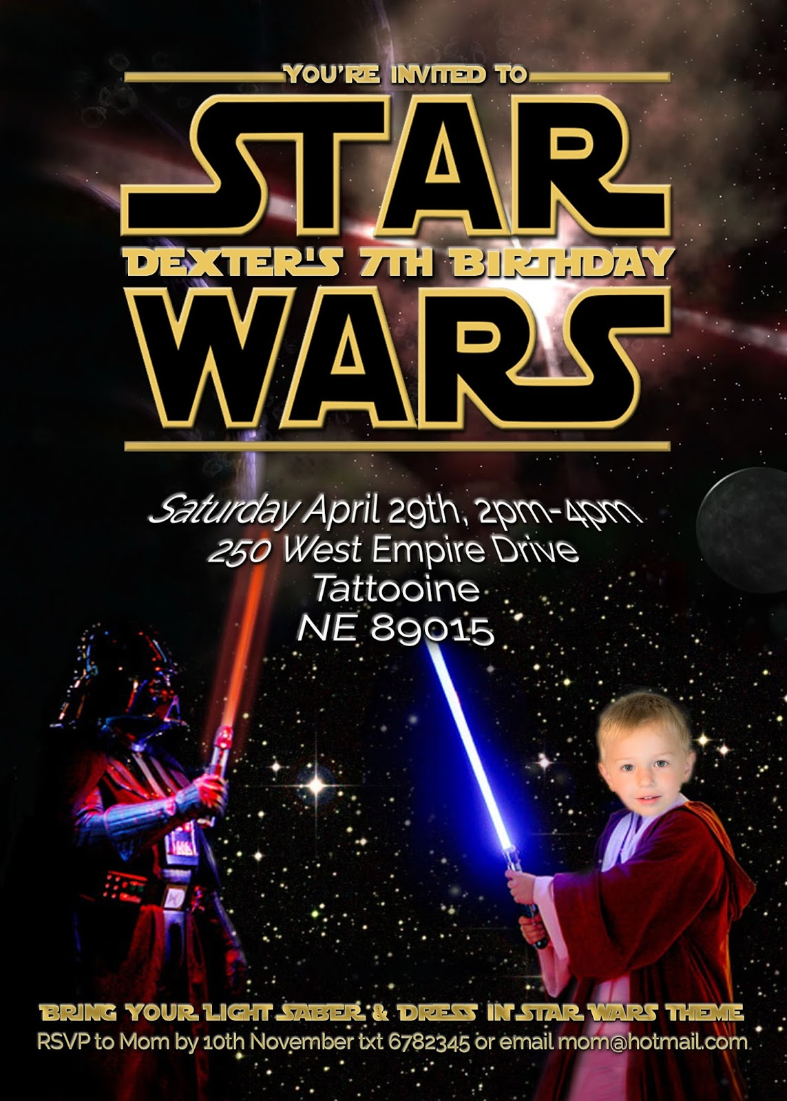 FREE Kids Party Invitations Star Wars Party Invitation selfedit