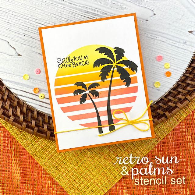 Beach Sunset Card by Jennifer Jackson | Retro Sun & Palms Stencil Set and Seashells Stencil by Newton's Nook Designs #newtonsnook