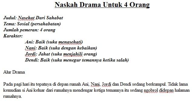 Teks Drama Pendek Tentang Persahabatan 4 Orang Brad Erva Doce Info