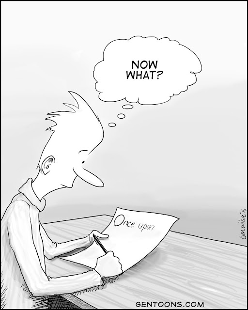 """Someone sits at a desk writing. on the paper are the words """"Once upon.""""   The person thinks, """"Now what?"""""""