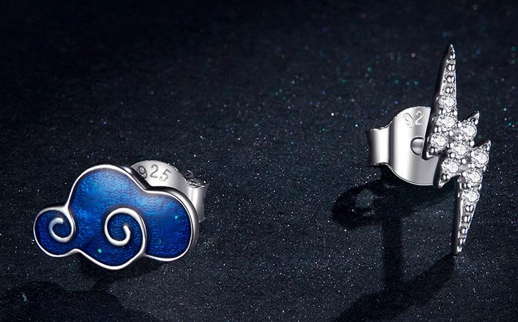 山雷頤滴釉鋯石 925純銀耳環