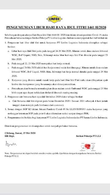 Pengumuman Libur idul Fitri 2020 SP Linfox