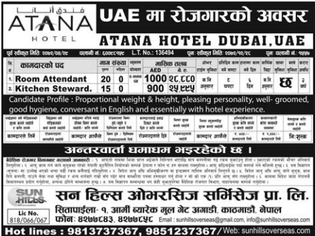 Jobs For Nepali In U.A.E,  Salary -Rs.28,880/