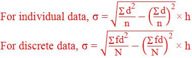 Standard deviation formula by deviation method using common factor.