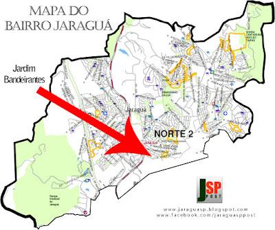 Posição do Jardim Bandeirantes dentro do bairro Jaraguá