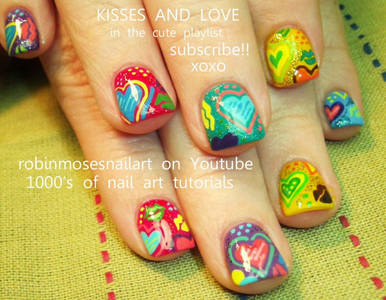 Nail Art By Robin Moses Lip Print Kiss Nails Kiss Nail Art